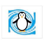 Penguin on Blue White Swirl Posters