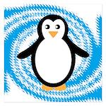 Penguin on Blue White Swirl Invitations