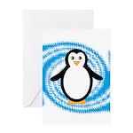 Penguin on Blue White Swirl Greeting Cards