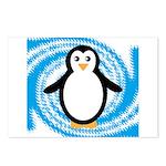 Penguin on Blue White Swirl Postcards (Package of