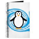 Penguin on Blue White Swirl Journal