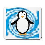 Penguin on Blue White Swirl Mousepad