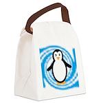 Penguin on Blue White Swirl Canvas Lunch Bag