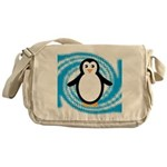 Penguin on Blue White Swirl Messenger Bag