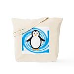 Penguin on Blue White Swirl Tote Bag