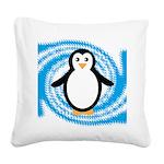 Penguin on Blue White Swirl Square Canvas Pillow