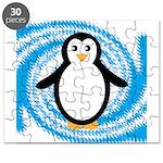Penguin on Blue White Swirl Puzzle