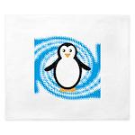 Penguin on Blue White Swirl King Duvet