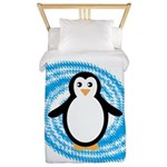 Penguin on Blue White Swirl Twin Duvet