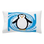 Penguin on Blue White Swirl Pillow Case
