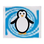Penguin on Blue White Swirl Throw Blanket