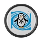Penguin on Blue White Swirl Large Wall Clock