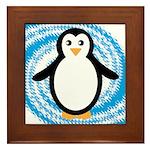 Penguin on Blue White Swirl Framed Tile