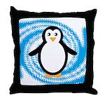 Penguin on Blue White Swirl Throw Pillow