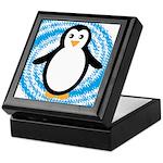 Penguin on Blue White Swirl Keepsake Box