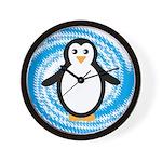 Penguin on Blue White Swirl Wall Clock