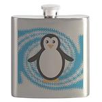 Penguin on Blue White Swirl Flask