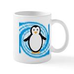 Penguin on Blue White Swirl Mugs