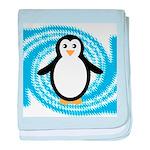 Penguin on Blue White Swirl baby blanket