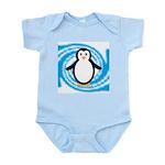 Penguin on Blue White Swirl Body Suit