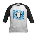 Penguin on Blue White Swirl Baseball Jersey