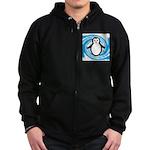Penguin on Blue White Swirl Zip Hoodie