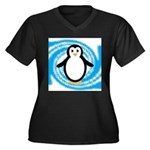 Penguin on Blue White Swirl Plus Size T-Shirt