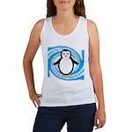 Penguin on Blue White Swirl Tank Top