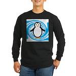 Penguin on Blue White Swirl Long Sleeve T-Shirt