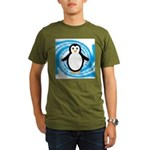 Penguin on Blue White Swirl T-Shirt