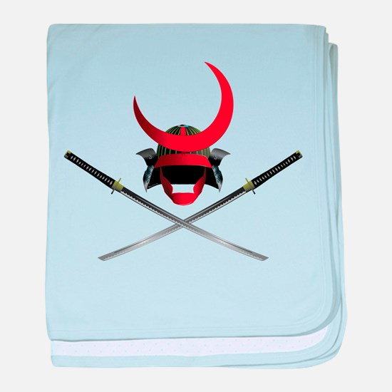 Samurai Helmet and Swords baby blanket