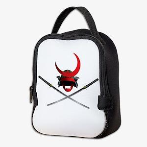 Samurai Helmet and Swords Neoprene Lunch Bag