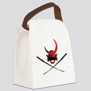 Samurai Helmet and Swords Canvas Lunch Bag