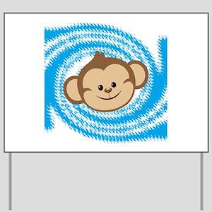 Monkey Face Blue Yard Sign