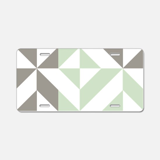 Sage Green and Silver Geome Aluminum License Plate