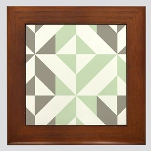Sage Green and Silver Geometric Cube P Framed Tile