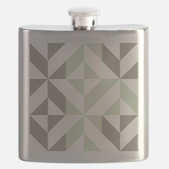 Sage Green and Silver Geometric Cube Pattern Flask