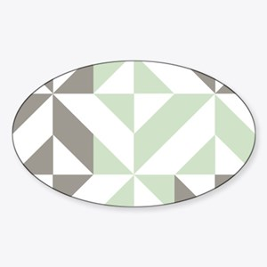 Sage Green and Silver Geometric Cub Sticker (Oval)