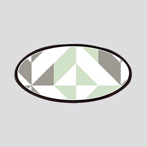 Sage Green and Silver Geometric Cube Pattern Patch