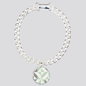 Sage Green and Silver Ge Charm Bracelet, One Charm