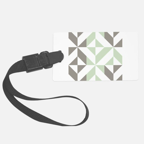 Sage Green and Silver Geometric Luggage Tag