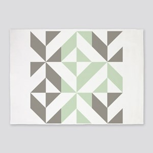 Sage Green and Silver Geometric Cub 5'x7'Area Rug