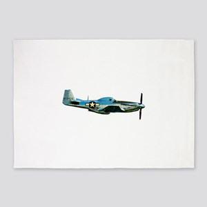 P 51-D Mustang WWII Fighter Plane 5'x7'Area Rug