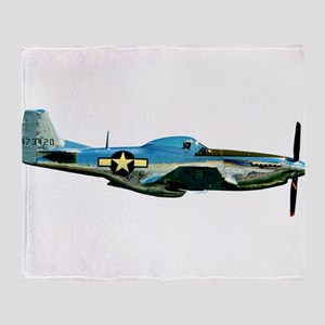 P 51-D Mustang WWII Fighter Plane Throw Blanket
