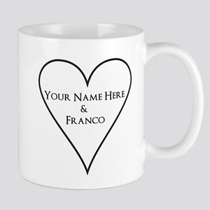 White Heart Your Name and Franco Mugs