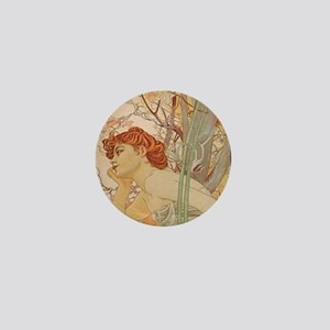 Mucha - Art Nouveau In The Garden Mini Button