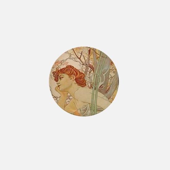 Mucha - Art Nouveau In The Garden Mini Button