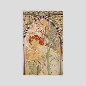 Mucha - Art Nouveau In The Garden 3'x5' Area Rug