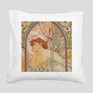 Mucha - Art Nouveau In The Garden Square Canvas Pi