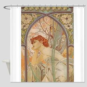 Mucha - Art Nouveau In The Garden Shower Curtain
